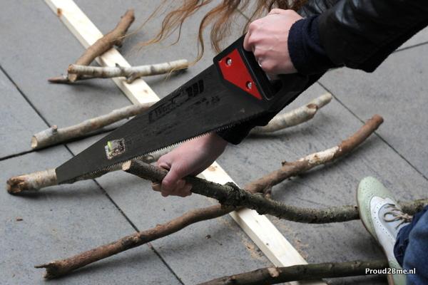 Wanddecoratie houten boom